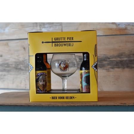 Grutte Pier Bierpakket met 4 biertjes en glas